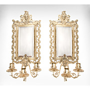 Pair of Late 19th C. Heavy Cast Brass Mirror Sconces, Triple Arms
