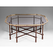 Vintage Baker Furniture Faux Bamboo Coffee Table With Glass Top