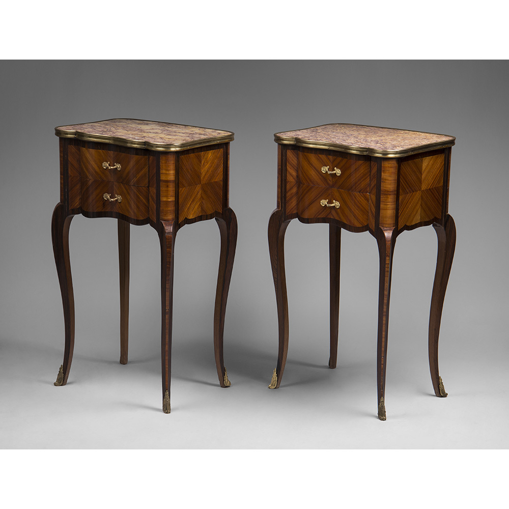 Pair Of Louis XV Style Marquetry Commodes Mounted In Bronze