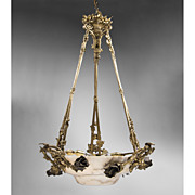 French Louis XV Style Bronze Mounted Onyx Chandelier