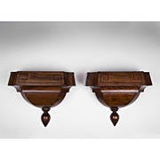 Pair of Edwardian Zinc-Lined Satinwood Wall Brackets
