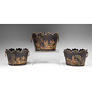 Garniture Set Of Three Monteith Shaped Chinoiserie Decorated Toleware Planters