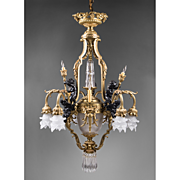 19th C. Patinated Bronze 13 Light French Chandelier