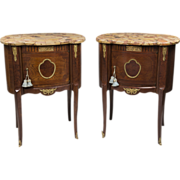 Pair of Louis XV Style Kidney Shaped Commodes With Marble Tops