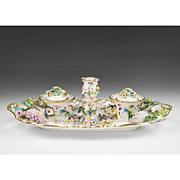 19th C. English Soft Paste Porcelain Floral Encrusted Inkstand