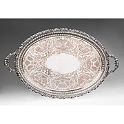 Large Ellis and Company Pierced-Rim Silverplate Oval Tray