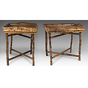 Matched Pair Of Vintage Bamboo Tray Top Tables On X-Crossed Folding Stands