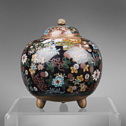 Meiji Japanese Cloisonne Floral Censer Koro With Cover