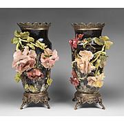 19th C. French Barbotine Jean-Marie Pointu Vases Mounted In Ormolu