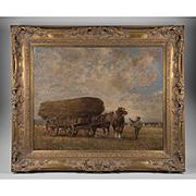 John Pedder Oil On Canvas Of Hay Wagon