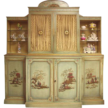 Mid 20th C. China Cupboard Painted in the Chinoiserie Style