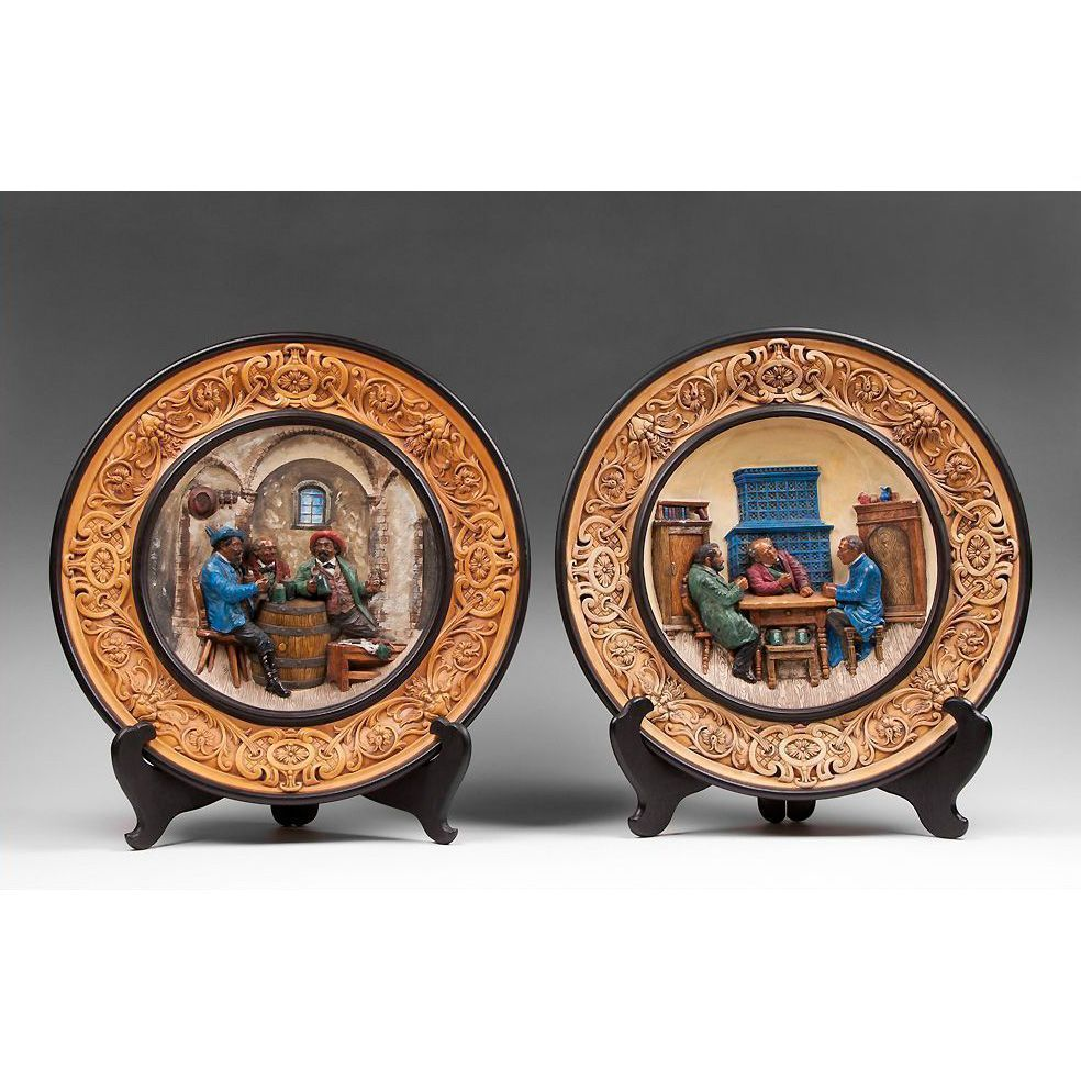 Pair of Late 19th C. Johann Maresch Pottery Wall Chargers