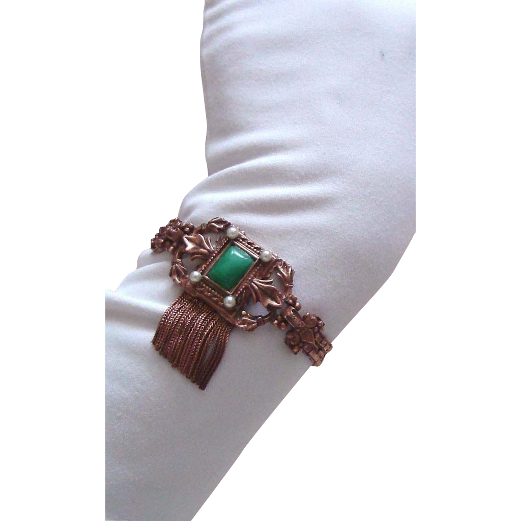 LAST CHANCE!  Ornate Vintage Coppertone Tassel Bracelet
