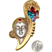 LARGE Resin & Rhinestone Lady Face Brooch: Mysterious Deco-Like Vamp!