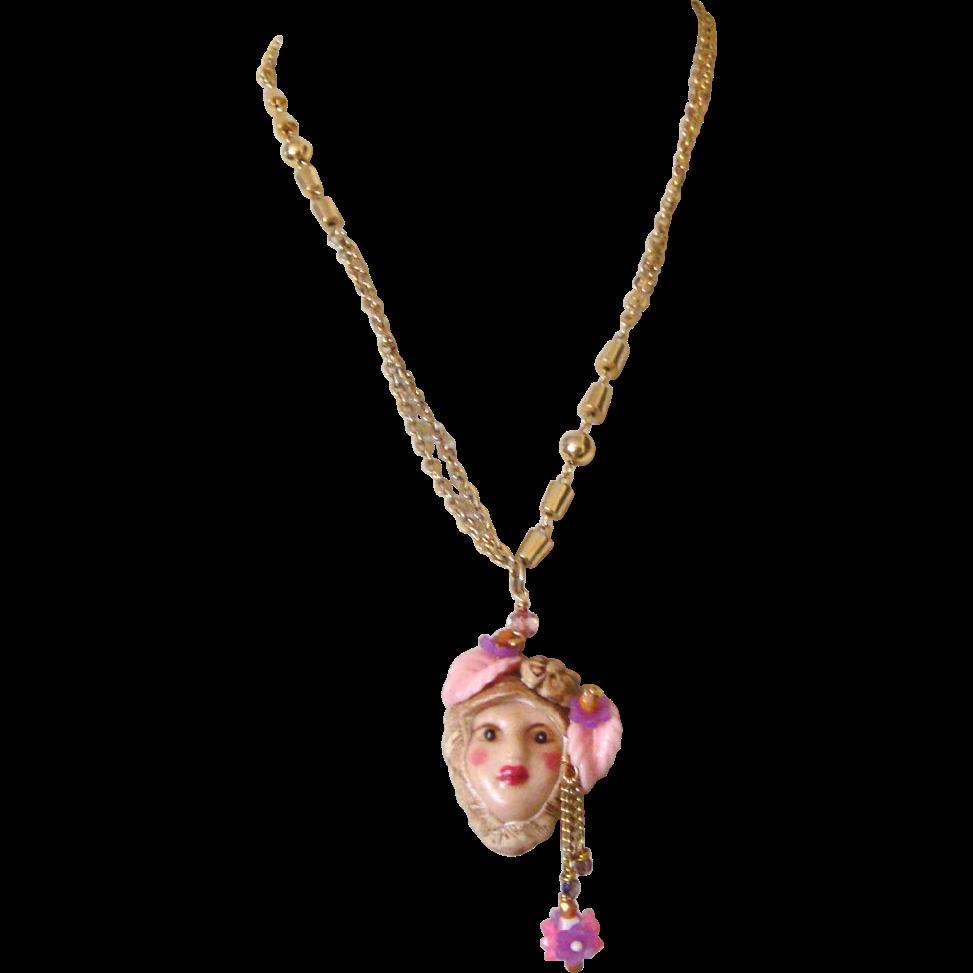 Large Lady Face Pendant Necklace: Floral Headdress