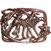Large Art Deco - Style Greyhound Silvertone Brooch: Signed & Superbly Stylish