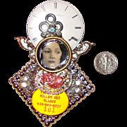 HUGE Lady-Face & Clock Collage Brooch:  OOAK