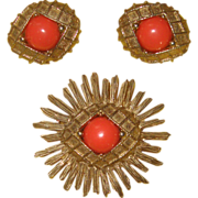 Nuclear Age CASTLECLIFF Coral-Stone Demi-Parure:  Pin & ER's