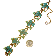 Charming CORO Turquoise-Colored Leaves & Berries Bracelet