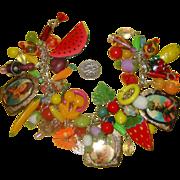 Exuberant Carmen Miranda Fruit-Style Charm Bracelet