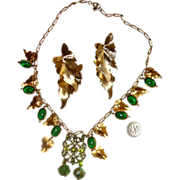 Leaves & Green Stones Demi-Parure:  One-of-a-Kind Set