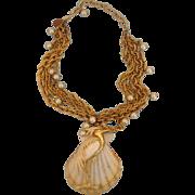 Striking Heron-on-Seashell Repurposed Necklace: Florida Dreaming...