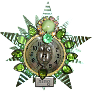 Lady Face on Clock Brooch: Green Tin & Striking Stones