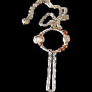 Mandarin Garnet Sapphire Circle Necklace by Pilula Jula 'Foolin Myself'