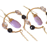 Orchid Phosphosiderite & Pink Amethyst 14k Gold Fill Hoop & Chain Earrings by Pilula Jula 'Sour Cherry'