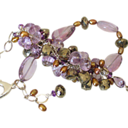 Amethyst Pyrite & Cultured FW Pearl Cluster Bracelet by Pilula Jula 'Time Flies I'