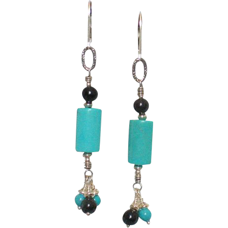 Blue Turquoise & Black Obsidian Earrings by Pilula Jula 'Come Undone'
