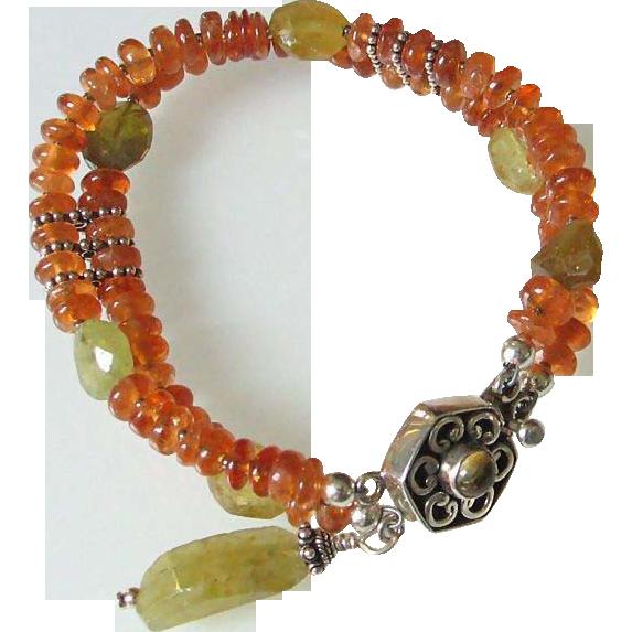 Double Strand Orange & Green Gemstone Bracelet  by Pilula Jula 'Word on the Street'