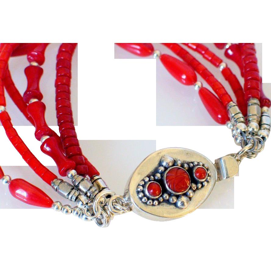 Multistrand Coral Bracelet by Pilula Jula 'Hot Pepper'