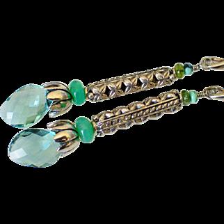Gem Fluorite & Chrysoprase Earrings by Pilula Jula 'Hard Wired'