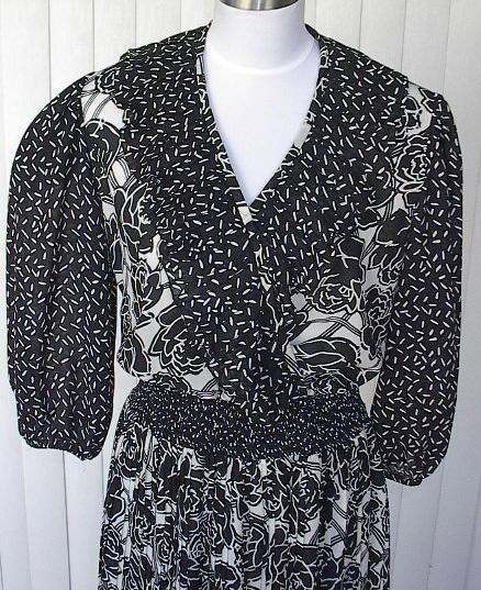 1980s Black &White Floral Garden Party Dress - Leslie Fay - ON HOLD