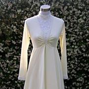 1970s Ivory Beaded Wedding Gown / Dress