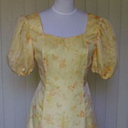 1970s Vintage Yellow Butterfly Print Formal / Gown