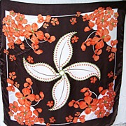 1970s Vintage Brown & Orange Floral Scarf