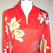 1970s Vintage Tunic Pullover Blouse Red w/Orchid Design