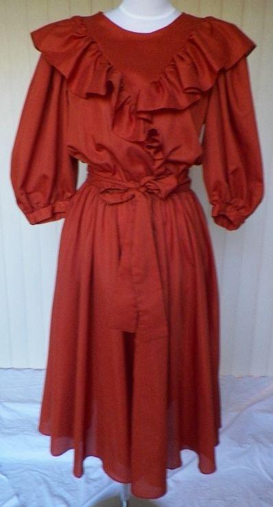1980s Burnt Orange Dress by City Lite