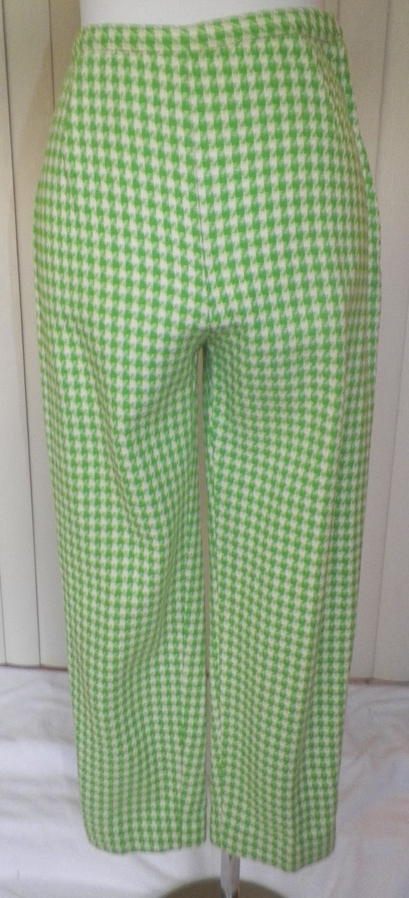 1950s/1960s Green and White Pedal Pushers / Capri Pants