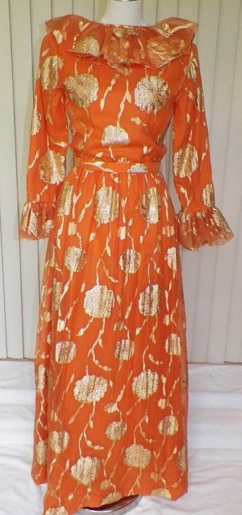 1960s / 1970s Orange and Gold Floral Formal / Gown