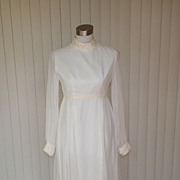 1960s / 1970s White Wedding Gown by Lorrie Deb
