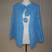 1970s Blue Knitted Shawl / Poncho