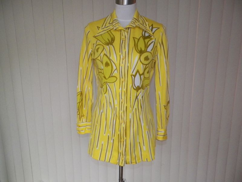 1970s Yellow Floral Long Sleeve Polyester Blouse - Vera