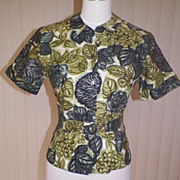 1960s Floral Forest Green Cotton Blouse