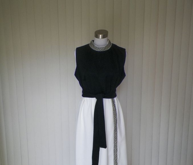 1960s Black and White Sequined Polyester Gown