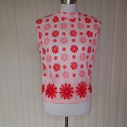 1960s /1970s Red & Pink Floral Knit Top / Shell