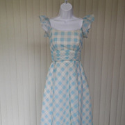 1970s Blue & White Checked & Swiss Dotted Maxi Dress