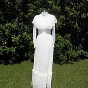 1970s Ivory Victorian Style Wedding Gown / Dress Chiffon Type